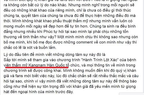 Đoạn chia sẻ trong tâm thư có nhắc tới Bệnh viện thẩm mỹ Kangnam - địa chỉ thẩm mỹ Đức Phúc thực hiện phẫu thuật1
