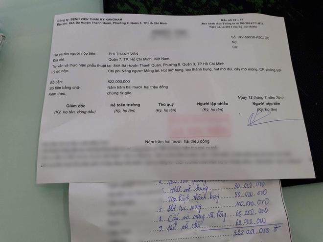 Lộ hóa đơn thanh toán toàn bộ ca đại phẫu thẩm mỹ lần 3 của Phi Thanh Vân1