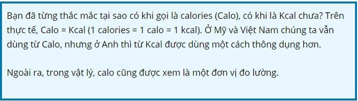 bảng tính calo các loại thức ăn hàng ngày