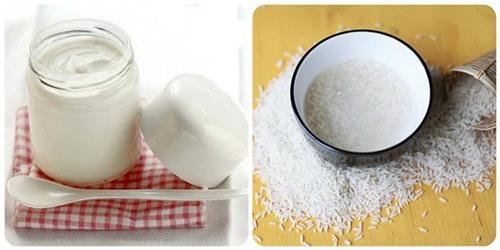 tắm trắng bằng nước vo gạo và sữa chua