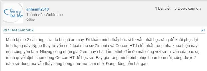 răng sứ zirconia giá bao nhiêu