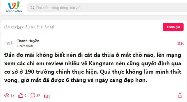 review cắt da thừa tại Kangnam