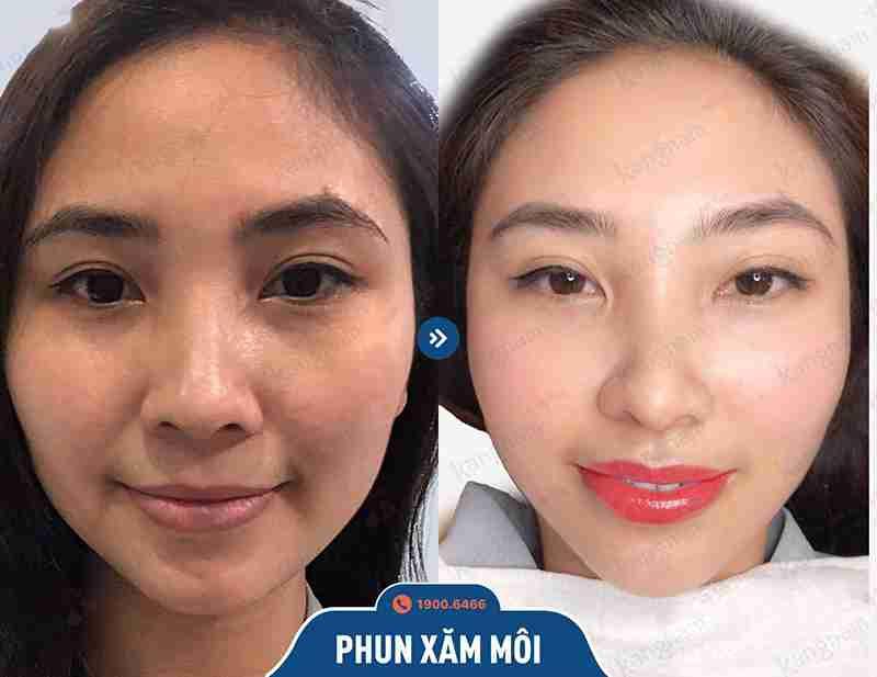 khách hàng trước và sau khi phun xăm